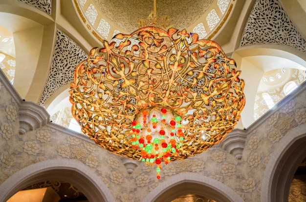 Crystal chandelier. the famous sheikh zayed grand mosque ...